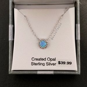 Jewelry - Sterling Silver 925 Lab Blue Opal Necklace
